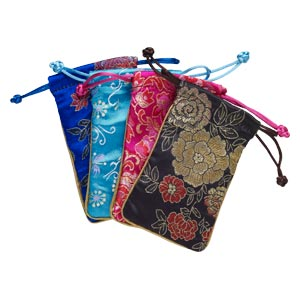 pouch mix, satin, multicolored, 5x3 inches with floral design and drawstring. sold per pkg of 4.