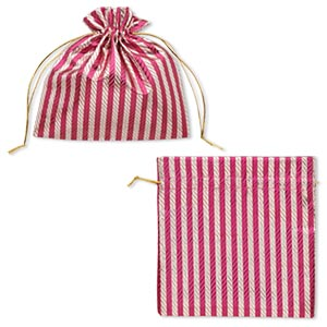 pouch, nylon, fuchsia and silver, 6-1/4 x 6-1/4 inches with textured caftan stripes and drawstring. sold per pkg of 2.