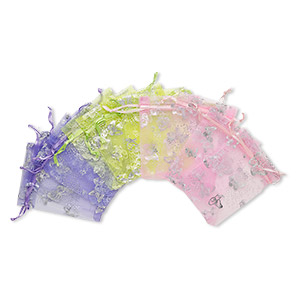 pouch, organza, assorted colors, 4-1/2 x 3 inches with butterfly pattern and drawstring. sold per pkg of 12.