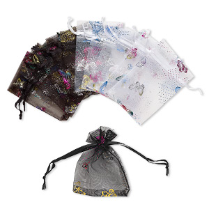 pouch, organza, black / white / multicolored, 4 x 2-1/2 inches with butterfly pattern and drawstring. sold per pkg of 12.