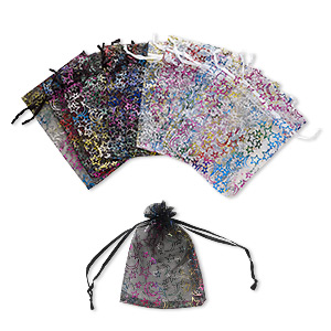 pouch, organza, black / white / multicolored, 5-1/2 x 4 inches with moon and star pattern with drawstring. sold per pkg of 12.