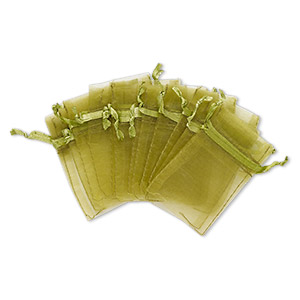 pouch, organza, olive green, 3x2-inch rectangle with drawstring closure. sold per pkg of 12.