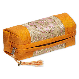 pouch, polyester / nylon / brass-finished pewter (zinc-based alloy), orange / tan / multicolored, 7 x 3 x 3-inch rectangle with flower design / coin replica / tassel, zipper closure. sold individually.