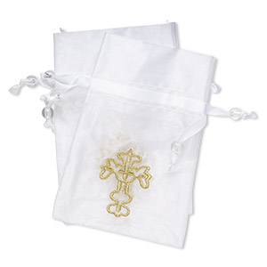 pouch, satin / organza / acrylic, gold / clear / white, 4-3/4  x 3-1/4 inch rectangle with embroidered cross and drawstring closure with 8mm round bead. sold per pkg of 2.