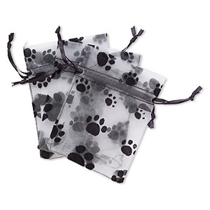 pouch, satin and flocked organza, grey and black, 4x3-inch rectangle with paw prints and drawstring closure. sold per pkg of 3.