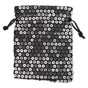 pouch, satin and plastic sequins, black and silver, 4-3/4 x 3-3/4 inches. sold per pkg of 3.