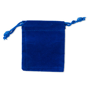 pouch, velveteen and cotton, royal blue, 2-1/2 x 2-inch square with drawstring closure. sold per pkg of 25.