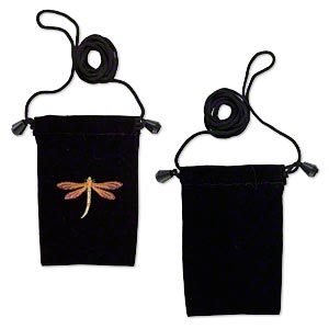 pouch, velveteen and plastic, black and multicolored, 5x3 inches with embroidered dragonfly design, 26-inch shoulder strap. sold per pkg of 2.