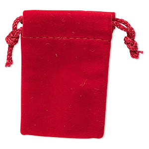 pouch, velveteen, red, 2-1/2 x 1-3/4 inches with drawstring. sold per pkg of 12.