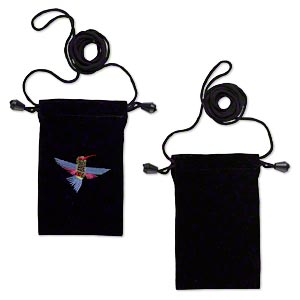pouch, velveteen with metallic embroidery, black and multicolored, 5x3 inches with hummingbird design, 26-inch shoulder strap. sold per pkg of 2.