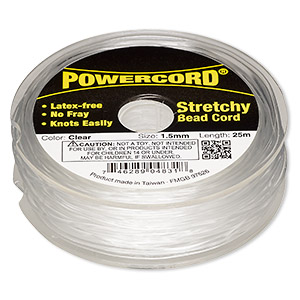 powercord, elastic, clear, 1.5mm, 22-pound test. sold per 25-meter spool.