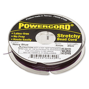 powercord, elastic, navy blue, 0.4mm, 3.5-pound test. sold per 25-meter spool.