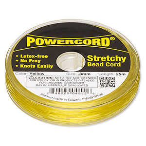powercord, elastic, yellow, 0.8mm, 8.5-pound test. sold per 25-meter spool.