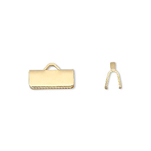 ribbon crimp end, gold-plated brass, 13x5mm smooth rectangle. sold per pkg of 100.