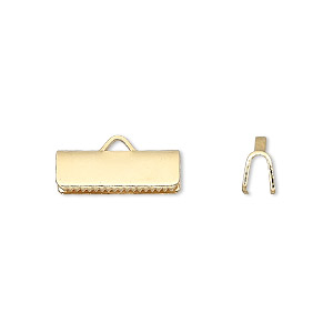 ribbon crimp end, gold-plated brass, 16x5mm smooth rectangle. sold per pkg of 10.