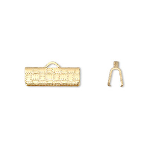 ribbon crimp end, gold-plated brass, 16x6mm textured rectangle. sold per pkg of 100.
