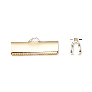 ribbon crimp end, gold-plated brass, 19x5mm smooth rectangle. sold per pkg of 10.
