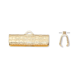 ribbon crimp end, gold-plated brass, 19x6mm textured rectangle. sold per pkg of 100.