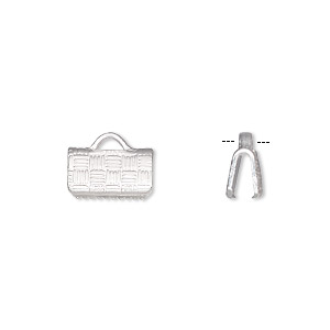 ribbon crimp end, silver-plated brass, 10x6mm textured rectangle. sold per pkg of 10.