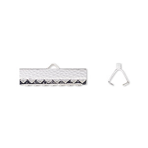 ribbon crimp end, silver-plated brass, 20x5mm hammered rectangle. sold per pkg of 10.