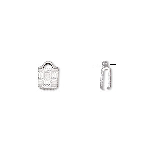 ribbon crimp end, silver-plated brass, 5x5mm textured square. sold per pkg of 10.