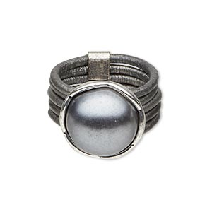 ring, 5-strand, leather (dyed) / acrylic pearl / silver-plated pewter (zinc-based alloy), silver and dark grey, 15mm round, size 8. sold individually.