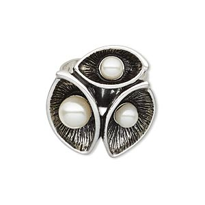 ring, acrylic pearl and imitation rhodium-plated pewter (zinc-based alloy), white, 25x23mm triple flower design, adjustable. sold individually.