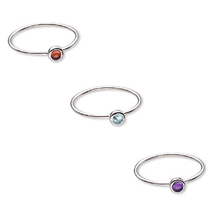 ring, amethyst / garnet / apatite (natural) / sterling silver, 4.5mm wide, size 7. sold per 3-piece set.