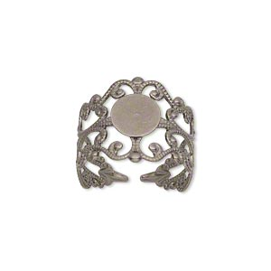ring, antique silver-plated brass, 16mm wide with filigree design and 8mm round flat pad setting, adjustable from size 7-9. sold per pkg of 8.