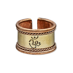 ring, antiqued copper and brass, 16mm wide with twisted wire and om symbol, size 9. sold individually.