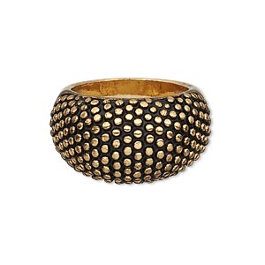 ring, antiqued gold-finished pewter (zinc-based alloy), 15mm wide domed band with beaded design, size 9. sold individually.