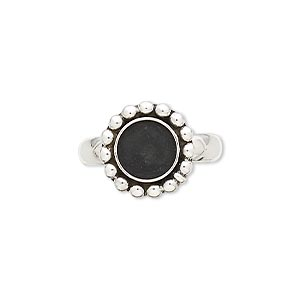ring, antiqued sterling silver, 13mm beaded round with 8mm round bezel setting, size 7. sold individually.