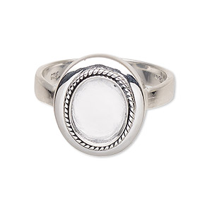 ring, antiqued sterling silver, 3-4mm wide with twisted wire design and 10x8mm oval bezel setting, size 7. sold individually.