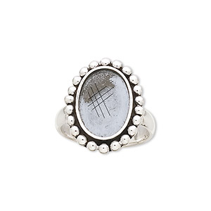ring, antiqued sterling silver, 3.5mm wide with beaded design and 14x10mm oval bezel setting, size 7. sold individually.