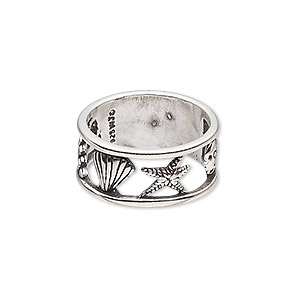 ring, antiqued sterling silver, 9.5mm wide with cutout shells / starfish / sand dollar design, size 7.5. sold individually.