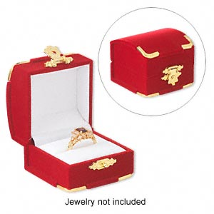 ring box, velveteen flocking-covered cardboard with flocking-covered foam and cardboard insert with padded slot, red with gold-finished accents and white interior, 2x1-1/2x2 inches. sold per pkg of 2.