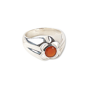 ring, carnelian (dyed / heated) and sterling silver, 12.5mm wide with flower, size 7. sold individually.