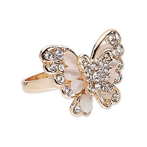 ring, cats eye glass / egyptian glass rhinestone / rose gold-finished pewter (zinc-based alloy), light pink and clear, 32x24mm butterfly, size 10. sold individually.