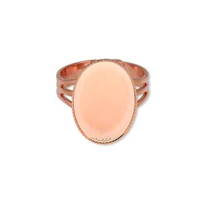 ring, copper-plated brass, 19x14mm with 18x13mm oval setting, adjustable from size 7-10. sold per pkg of 6.