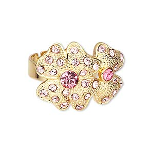 ring, crystal rhinestone and gold-plated brass, hot pink and light pink, 27x20mm double 4-leaf clover, adjustable. sold individually.