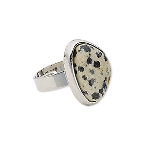 ring, dalmatian jasper (natural) with silver-plated steel and pewter (zinc-based alloy), 22x17x17mm-22x18x17mm triangle, adjustable from size 5-9. sold individually.