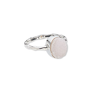 ring, druzy (dyed) and sterling silver, pink, 11mm wide with oval, size 7. sold individually.
