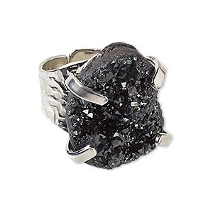 ring, electroplated druzy agate (coated) and imitation rhodium-plated brass, black, hammered band with 24x18mm-27x21mm hand-cut freeform, adjustable. sold individually.