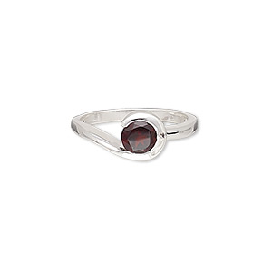 ring, garnet (natural) and sterling silver, 8mm wide with 8mm faceted round, size 7. sold individually.