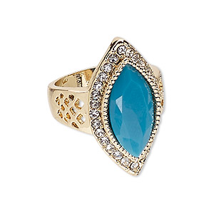 ring, glass / egyptian glass rhinestone / gold-finished pewter (zinc-based alloy), turquoise blue and clear, 30x16mm marquise, size 9. sold individually.