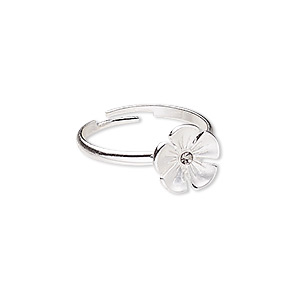 ring, glass rhinestone and silver-plated pewter (zinc-based alloy), grey, 11x11mm flower, adjustable. sold individually.