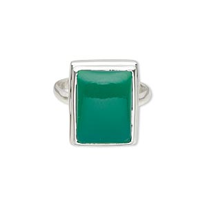 ring, green onyx (dyed) and sterling silver, 19x12mm rectangle with 16x12mm rectangle, size 8. sold individually.