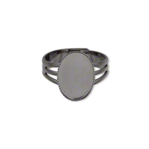 ring, gunmetal-plated brass, 15x11mm with 14x10mm oval setting, adjustable from size 7-8. sold per pkg of 6.