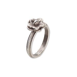 ring, hill tribes, fine silver, 2.5mm wide band with 10mm flower, size 7. sold individually.