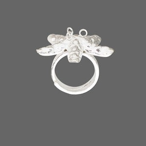 ring, hill tribes, fine silver, 5-6mm wide with 39x39mm starfish and 3 loops, adjustable. sold individually.